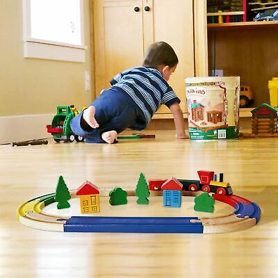 19 Piece Wooden Train Kids Toy Play Set Children Role Play Colourful Accessories