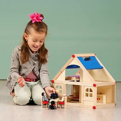 Wooden Dolls House With Accessories Furniture & Figures People Kids Play Set