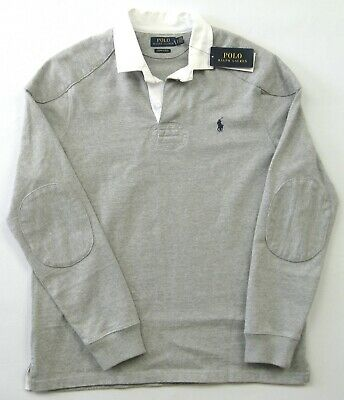 Polo Ralph Lauren Men's Grey L/S Cotton Slim Fit Rugby Polo Shirt Size Large