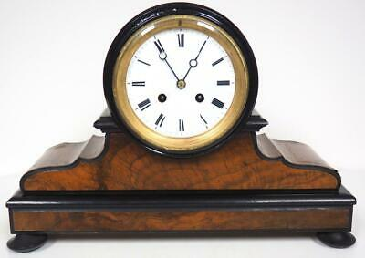 Antique French Burr Walnut Mantel Clock 8 Day Bell Striking Mantle Clock 1900
