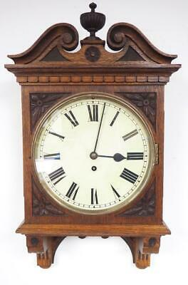 Antique carved Wall Clock English Fusee Drop Dial Wall Clock C1890 8 Day Clock