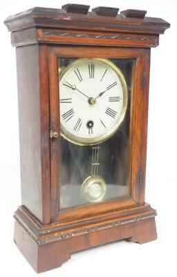 Rare Shelf Clock Large Glass Panel Mantel Clock 1890 Cottage Carved Mantle Clock