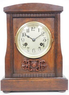 Good Antique Oak  Mantel Clock 8 Day Striking Arts & Crafts Mantle Clock C1900