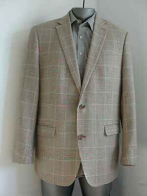 Ralph Lauren Men Slim Fit Blazer Sport Coat Jacket Brown Wool Silk bland 44L