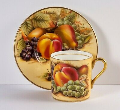 Aynsley Coffee Can, Demi Tasse Coffee Cup & Saucer in Orchard Gold fruit pattern