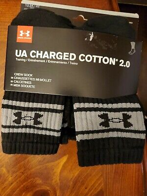 Under Armour Charged Cotton 2.0 No Show Socks 6 Pair Black Size 13.5-4Y Youth