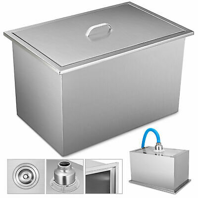 "23""X17"" Drop In Ice Chest Bin With Cover Thick Lid Single Basin Water Pipe"