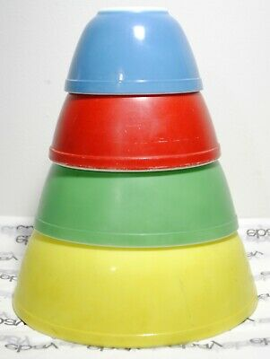 Vintage Pyrex Primary Colors Mixing Bowl Set 401 402 403 404