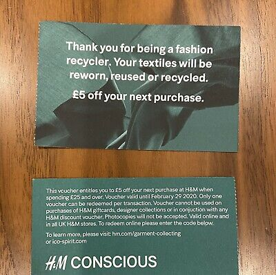 H&M 2x £5 Off £25 Vouchers Coupons Sustainable