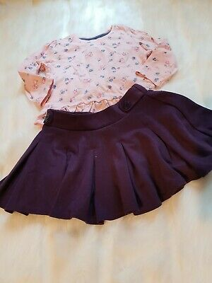Girls 9-12 Months smart floral Top skater formal Skirt outfit bundle Next Day