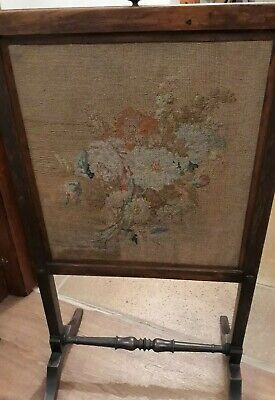 Antique Mahogany wood Fire screen TAPESTRY Removable Insert Really Beautiful GC