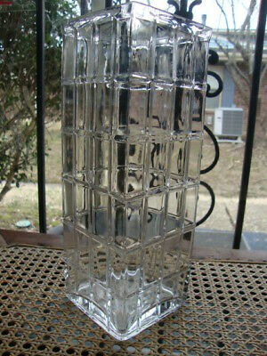 Antique Vtg Large Square Vase Crystal Clear Glass Cut Pattern Textured