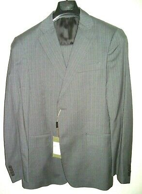 Made in Italy $1200 Lightweight Grey Suit Luciano Barbera 40R 100% wool 110'S