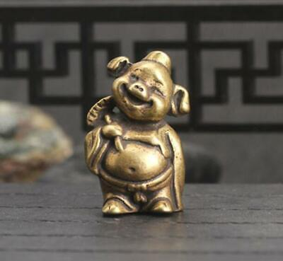 Antique Chinese Fortunes Collectible  Brass Handwork Amass pig Pendant Statue