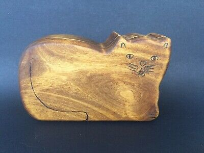 Handmade kitty cat wooden container with secret hiding places