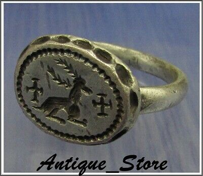** WOW **  DEER with CROSSES  ** Ancient  Silver Byzantine Ring **AMAZING **