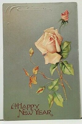 New Year Beautiful Roses on Silver Finish 1907 to Lancaster Pa Postcard I10