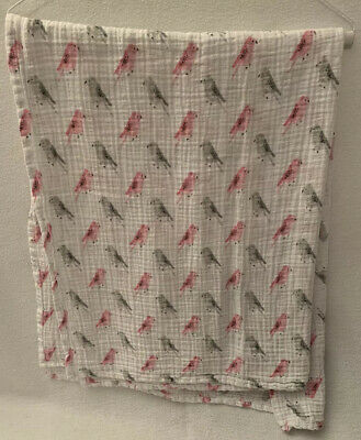 ADEN + ANAIS Birds Pink Gray Swaddle Baby Blanket White Label Paradise Cove