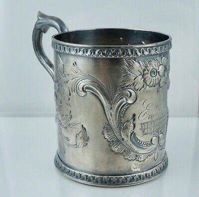 Early American Coin Silver Repousse Cup Mug Baby Sterling Antique Vintage