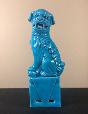 Vintage Chinese Porcelain Foo Lion Dog Foot on Pup Looking Left - Fine Turquoise