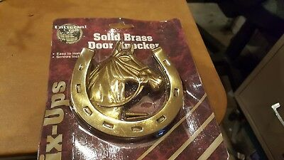 Vintage Solid Brass Horse Head Horseshoes Door Knocker 4""