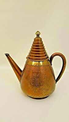 """Unique Vintage Chinese Copper And Brass Teapot Stacked Pointed Lid 10.5"""" Chased"""