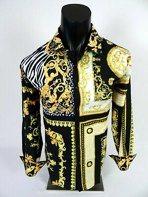 Mens Casual Shirt Black Gold Floral Animal Medusa Print Silky Stretch Button Up