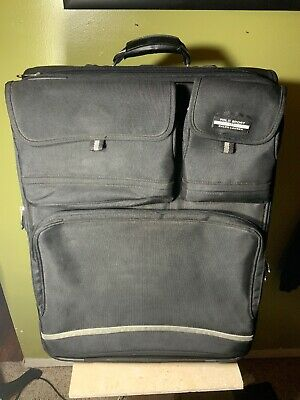 Vintage Polo Sport Ralph Lauren Rolling Extended Stay Luggage Black Suitcase 26""