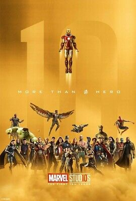 Marvel Studios Original Special Collector 10th Anniversary Cardstock Gold Poster