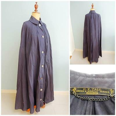 Victorian Ladies Cape Cloak Mantle Antique Edwardian Navy Full Length Arm Slits