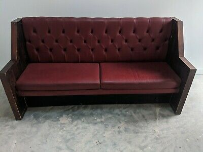 Church pew pub bench red leather