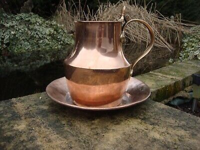 Antique  copper French pitcher Jug  pouring lip hinged lid bronze handles  & Bow