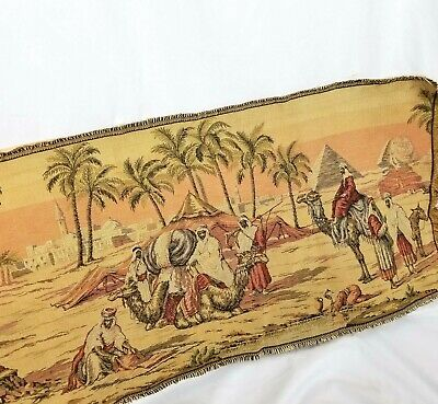 Vintage Tapestry Italy Made Runner Wall Hanging Egypt Biblical Old World 18x48