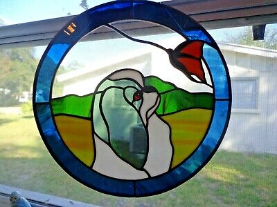 """Stained Glass Dog - Japanese Chin - Black/White - 12"""" Circle"""