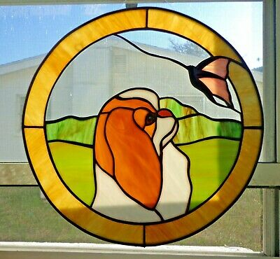 """Stained Glass Dog - Japanese Chin - Red - 12"""" Circle"""