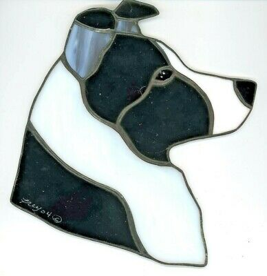 Stained Glass - Dog - Border Collie - Blk & White