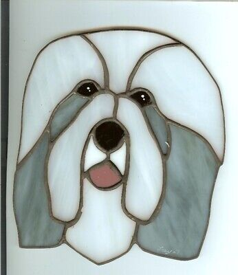 Stained Glass - Dog - Bearded Collie - Blue