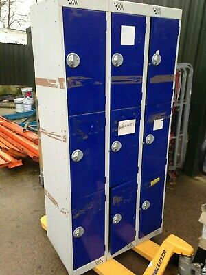 Steel Link 9 Lockers 3x3 used office changing blue
