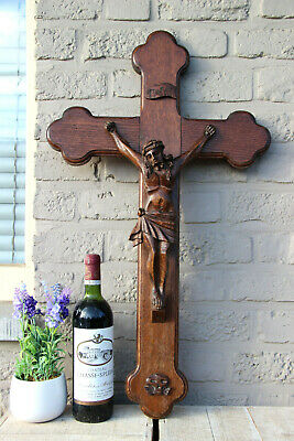XL Antique French altar church religious wood carved crucifix christ cross