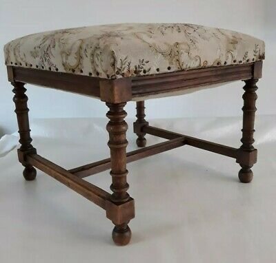 Antique Mahogany WOOD STOOL TAPESTRY Sprung Top with carved Legs Good condition