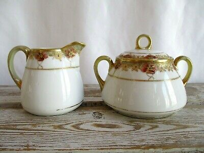 Vintage Hand Painted Nippon Covered Sugar Bowl And Creamer