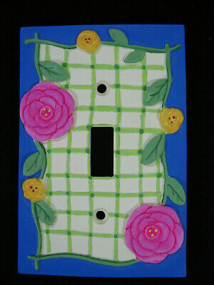 Borders Unlimited 3D Floral Ceramic Single Light Switch Plate Pink Blue Yellow