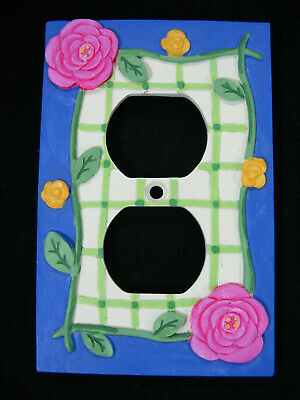 Borders Unlimited 3D Floral Ceramic Wall Outlet Plate Pink Blue Yellow