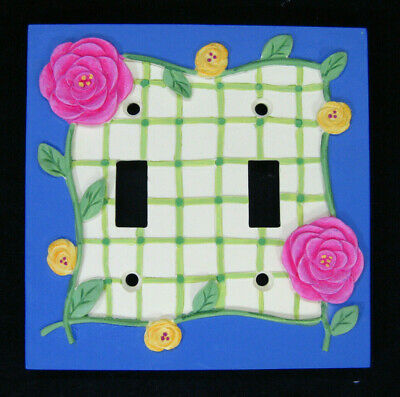 Borders Unlimited 3D Floral Ceramic Double Light Switch Plate Pink Blue Yellow