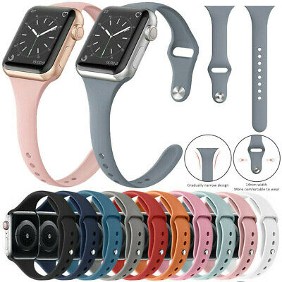 For Apple Watch Series 5 4 3 2 1 38mm 40mm Slim Sport Band Silicone iWatch Strap