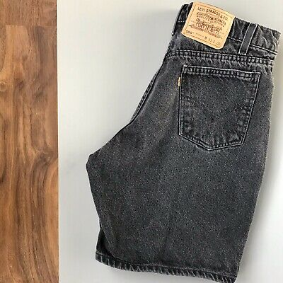 VTG 80s Levis 550 Relaxed Fit Orange Tab Black Denim Jean Shorts USA Size 33