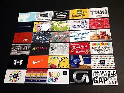 Nike / Tim Hortons / Gap / Toys R Us ...... Gift Cards -- Lot Of 30 Pcs. -- New