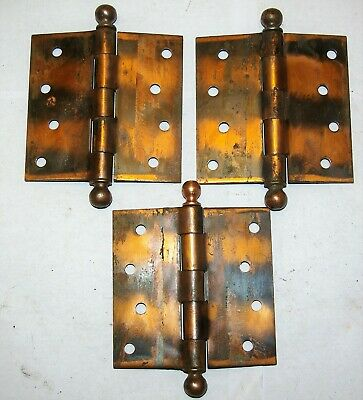 3 Three Vintage Copper Washed Jappaned Flash Hinges Cannonball Pin Ends Used