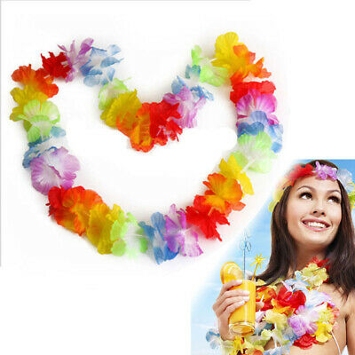 2x Hawaiian Flower Leis Garland Necklace Fancy Dress Party Hawaii Beach Decor YX