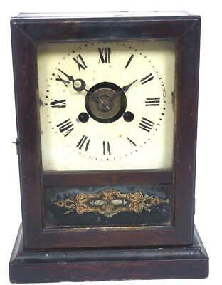 HAC Shelf Clock Painted Glass Panel Cottage Mantel Clock C1900 With Labels